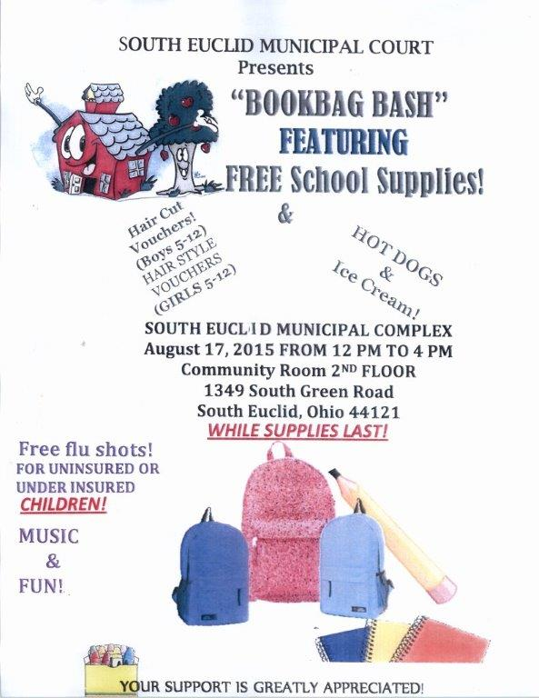 The South Euclid Munil Court Along With Various Community Partners Will Host Its Inaugural Book Bag Bash Free School Supplies Giveaway From Noon To